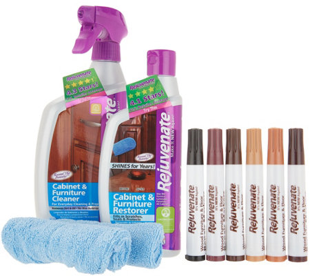 Rejuvenate Cabinet Cleaner & Restorer Kit w/ Wood Repair Color Markers