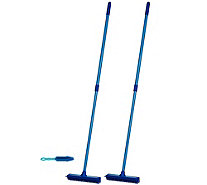 Don Aslett's Set of 2 Multi-purpose Rubber Brooms with Hand Brush - V34207
