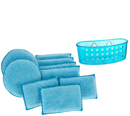 Set of 10 Microfiber Sponge Set w/ Sponge Holder by Campanelli