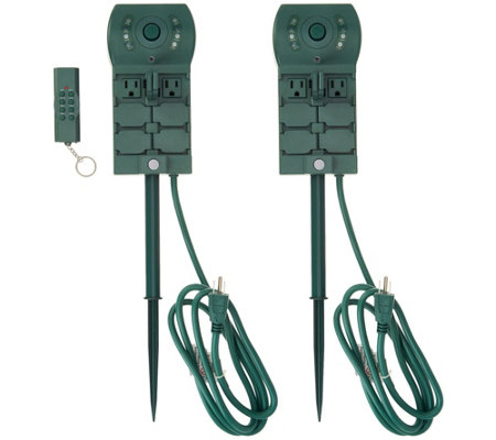 Super Switch Set Of 2 6 Outlet Power Stakes With Remote Timer
