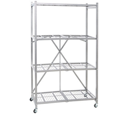 Pop-It Pro 4 Tier Steel Collapsible Shelf with Wheels