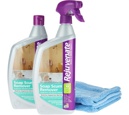 S/2 Rejuvenate Scrub Free Soap Scum Removers w/2 Cleaning Cloths