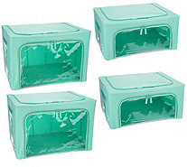 Periea Set of 4 Collapsible Storage Boxes (2) Large & (2) Medium Boxes - V36114
