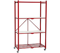 Pop-It 4-Tier Collapsible Storage Shelf with Wheels & Liners - V35638
