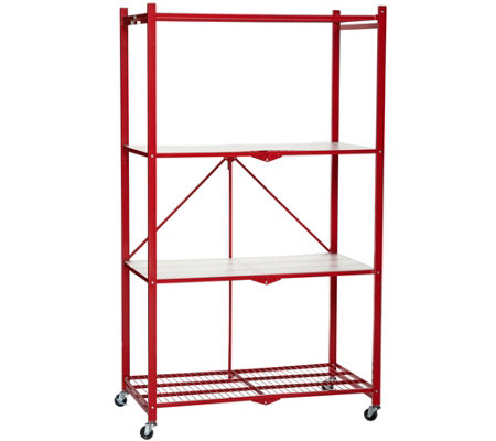 Pop-It 4-Tier Collapsible Storage Shelf with Wheels & Liners