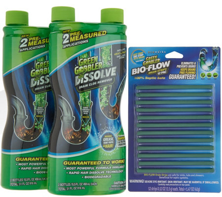 Green Gobbler Set of 2 Liquid Drain Openers with 12 Piece Bio-Flow Sticks