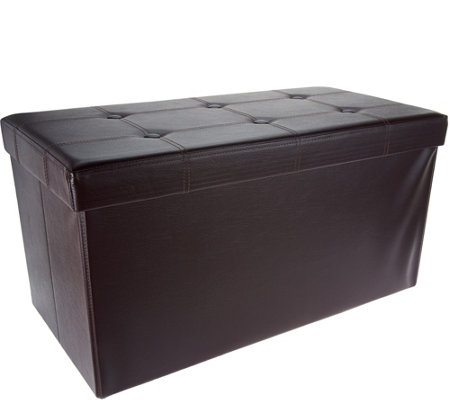 """As Is"" FHE Faux Leather 30"" Folding Storage Bench w/Wooden Tray"