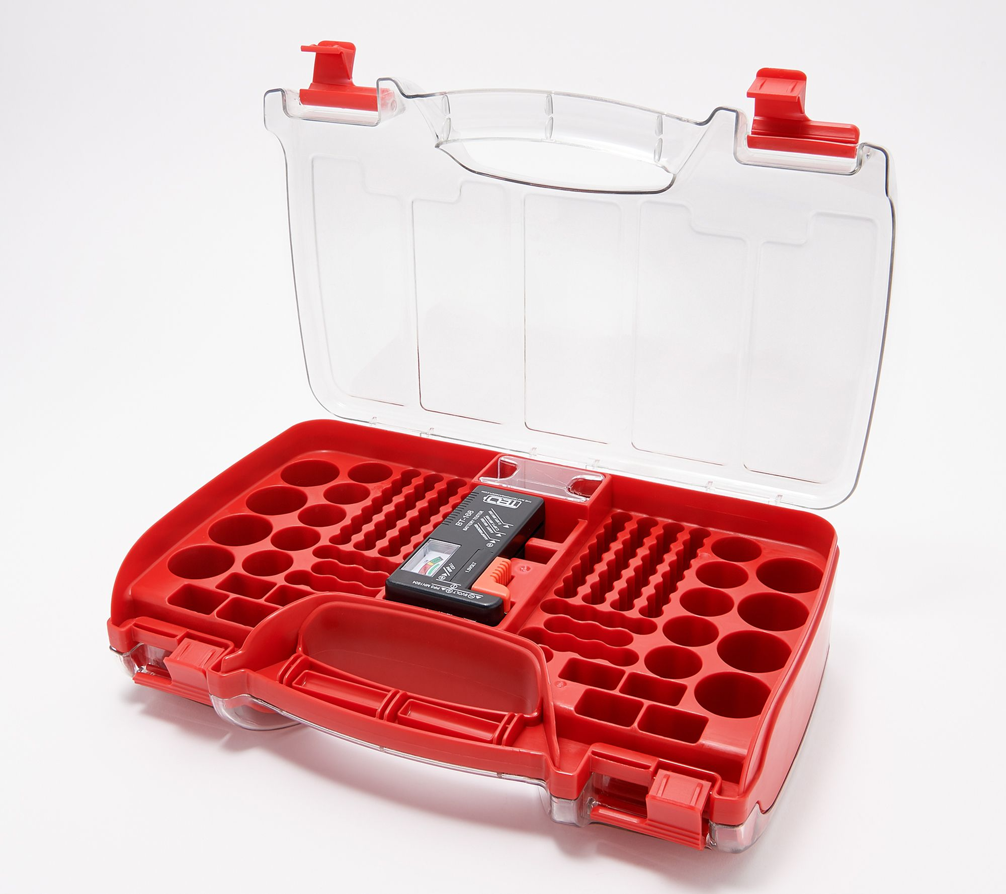 180 Deluxe Battery Organizer Storage Case W Battery Tester Qvc Com