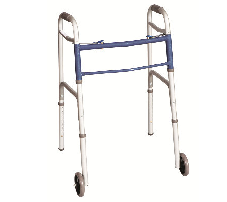 Carex Classics Dual Button EZ-Fold Walker withWheels