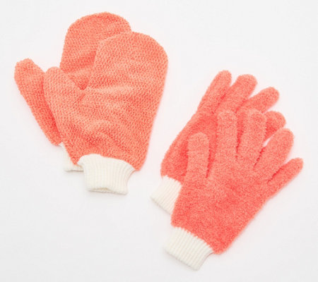 4 Piece Microfiber Dusting Gloves and Glass Cleaning Mitts