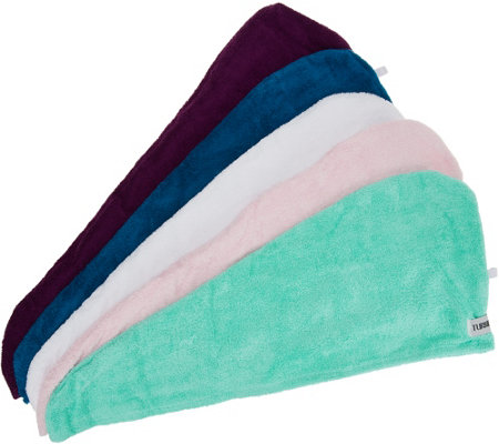 Set Of 5 Solid 100 Cotton Turbie Twist Hair Towels