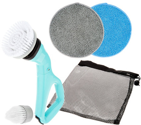 """As Is"" 6-Piece Compact Cordless Power Scrubber with Attachments"