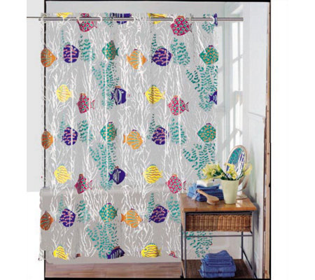 Hookless Shower Curtain Coral Sea Design