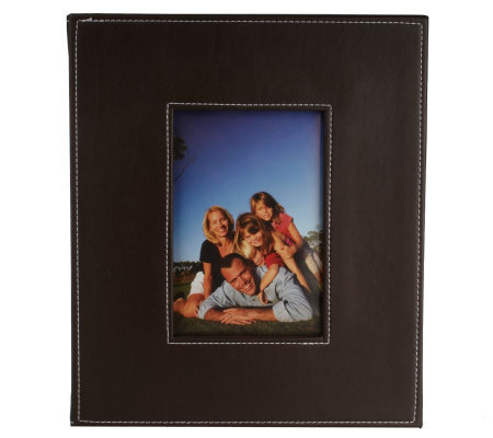 Faux Leather Remote Control Storage Box W/Photo Insert