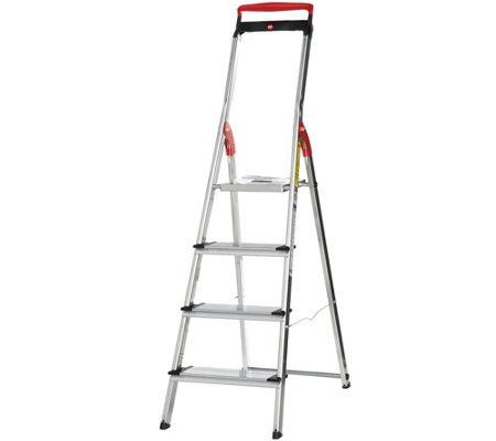 Hailo 4 Step Lightweight Ladder With Safety Rail U2014 QVC.com
