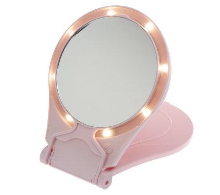 Floxite 10x 1x Lighted Travel Mirror W Stand