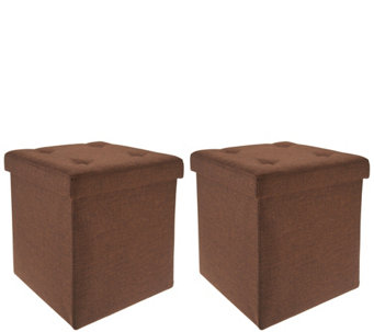 Fresh Home Elements Tufted Set Of 2 15 Folding Ottomans W Tray