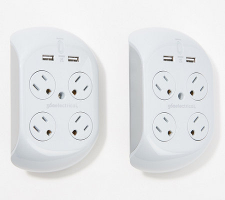 Revolve 2 4 Amp Set Of 2 Surge Protectors With 4 Outlets 2 Usb Ports