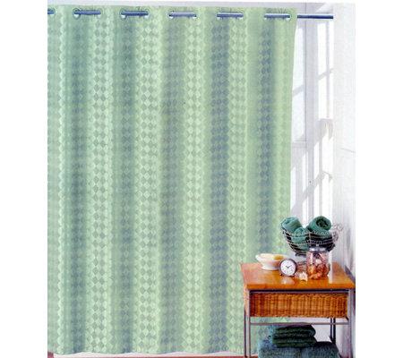 Hookless Vinyl Shower Curtain Facets Style Celedon