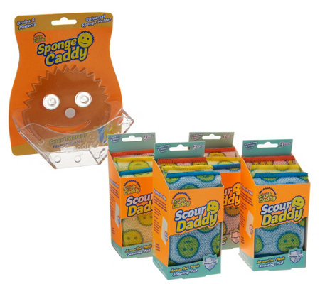 Scour Daddy Set of 12 Scouring Pads w/ Sponge Caddy by Scrub Daddy