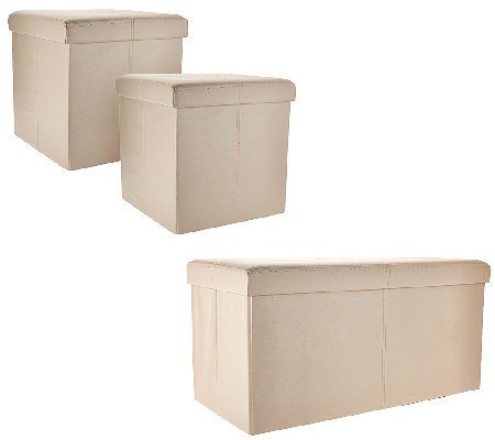 Pleasing Faux Leather Folding 2 Pc Ottoman Set Or Storage Bench By Fhe Qvc Com Alphanode Cool Chair Designs And Ideas Alphanodeonline