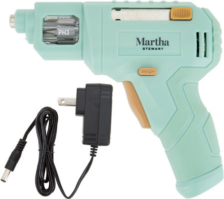 Martha Stewart 4V Rechargeable Screwdriver w/ 6 Built-in Bits & LED Light