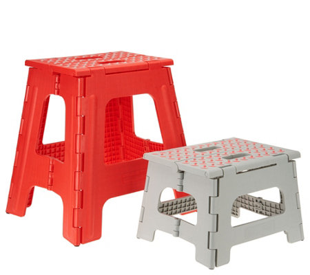 Kikkerland Set Of 2 Easy Fold Large Small Step Stools