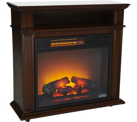 "Duraflame 23"" Rolling Mantel Heater with Media Storage Shelf"
