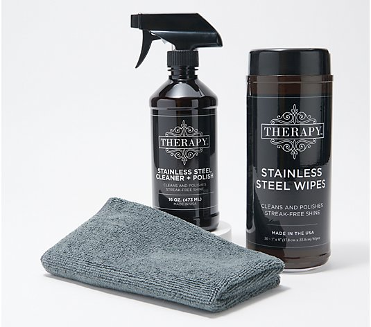 Therapy Stainless Steel Cleaner and Polish Kit with 30 Wipes