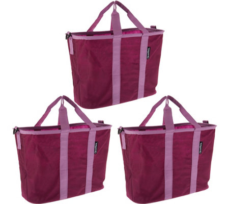 SnapBasket Set of 3 Foldable Market Totes with Straps
