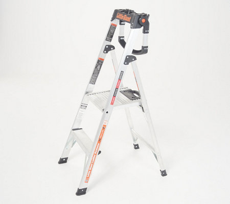 Brilliant Little Giant Xtra Lite Plus 4 Step Ladder W Handrail Qvc Com Ibusinesslaw Wood Chair Design Ideas Ibusinesslaworg