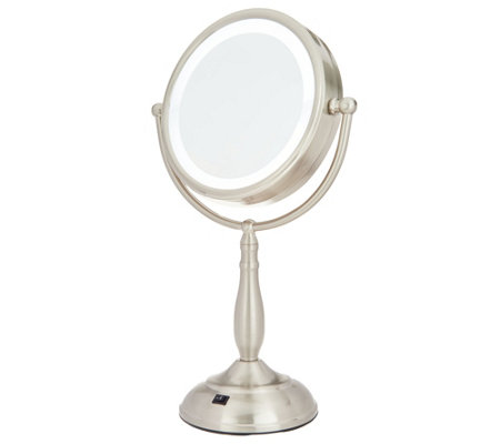 Floxite 8X/1X Lighted Brushed Nickel Magnification Mirror