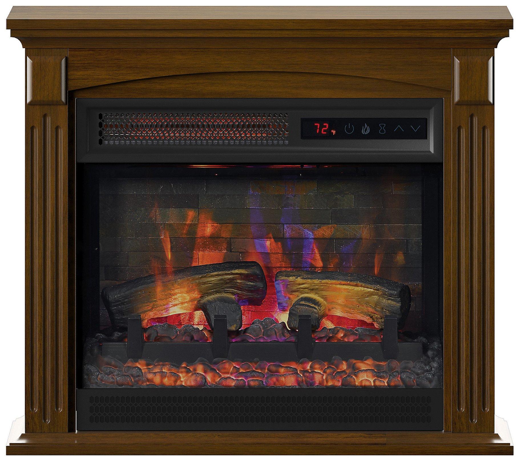 Duraflame 24 Wall Mantel Infrared Quart Fireplace Heater Remote Qvc Com