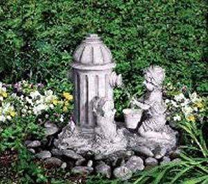 Boy, Dog And Fire Hydrant Flower Garden Fountain U2014 QVC.com