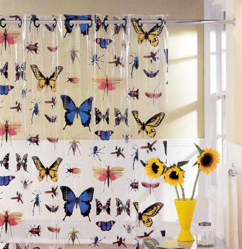 Hookless Vinyl Shower Curtain, Butterflies Style U2014 QVC.com