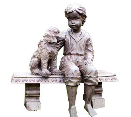 Boy And Dog On A Bench Garden Statue