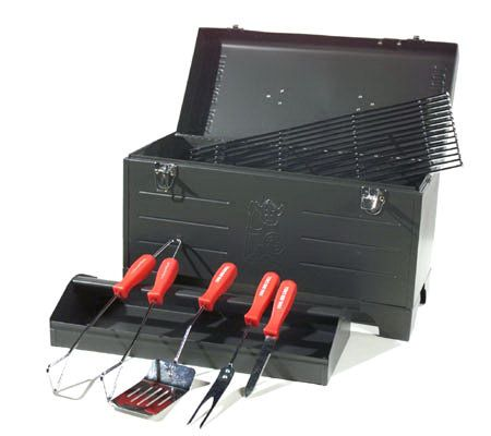 Tool Box Grill 4pc Barbecue Tool Set With Storage Tray