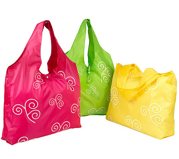 f7328ce70ef Set of 3 Reusable Roll-up Shopping Bags - Page 1 — QVC.com