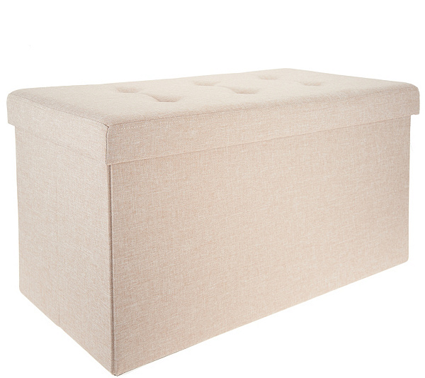 Wondrous Fresh Home Elements Tufted 30 Folding Storage Bench W Tray Qvc Com Andrewgaddart Wooden Chair Designs For Living Room Andrewgaddartcom